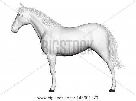 Vector illustration of 3D horse. Isolated. EPS 8.