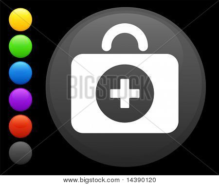 first aid kit icon on round internet button original vector illustration 6 color versions included