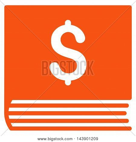 Sales Book icon. Vector style is flat iconic symbol with rounded angles, orange color, white background.