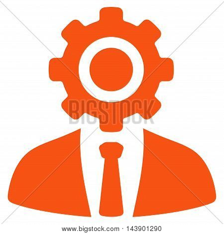 Worker icon. Vector style is flat iconic symbol with rounded angles, orange color, white background.