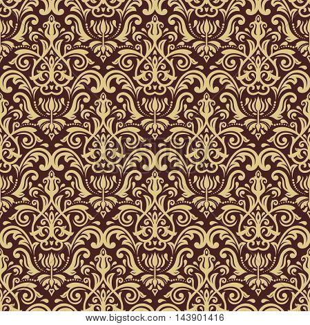 Oriental golden classic pattern. Seamless abstract background with repeating elements
