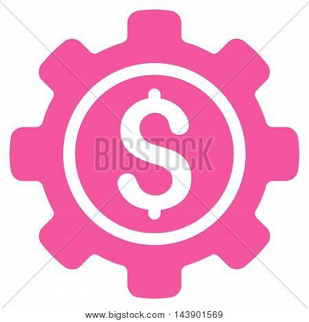 Financial Tools icon. Vector style is flat iconic symbol with rounded angles, pink color, white background.