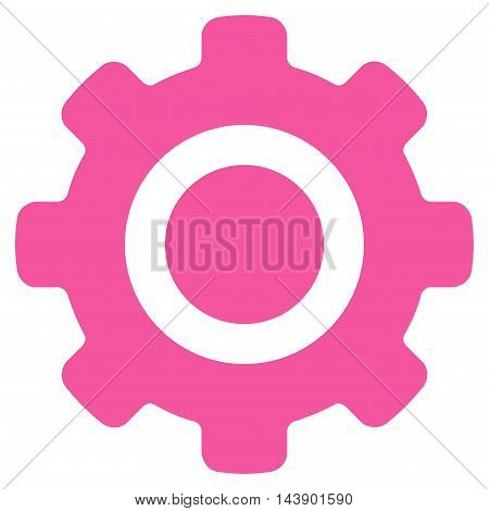 Gear icon. Vector style is flat iconic symbol with rounded angles, pink color, white background.