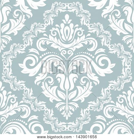 Seamless oriental ornament in the style of baroque. Traditional classic light blue and white pattern