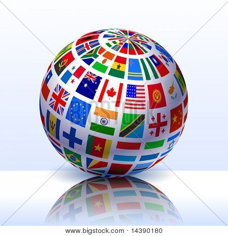Flags Globe Internet Background Original Vector Illustration EPS10