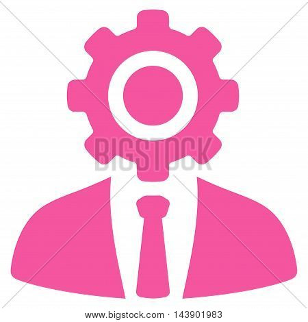 Worker icon. Vector style is flat iconic symbol with rounded angles, pink color, white background.