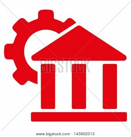 Bank Settings icon. Vector style is flat iconic symbol with rounded angles, red color, white background.