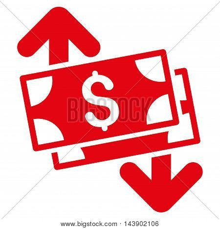 Banknotes Spending icon. Vector style is flat iconic symbol with rounded angles, red color, white background.