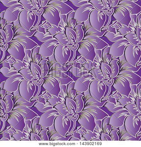 Light violet bloral stylish  floral vector seamless pattern background with vintage big purple violet volumetric  flowers and ornaments with light outline.Luxury  illustration and 3d vintage decor elements with shadow and highlights. Endless elegant  text