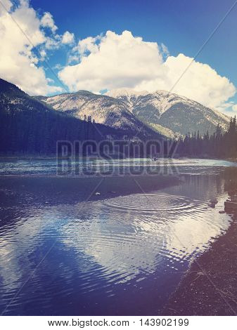 Beautiful view of mountains with water - Instagram filter