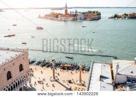 Aerial view on San Giorgio Maggiore island from San Mark's Campanille in Venice
