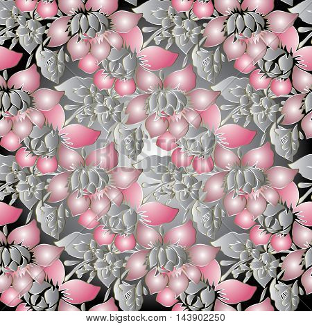 Pink and grey modern stylish  vector seamless pattern background with vintage  flowers and ornaments. Stylish  illustration and 3d vintage decor elements with shadow and highlights. Endless elegant  texture.