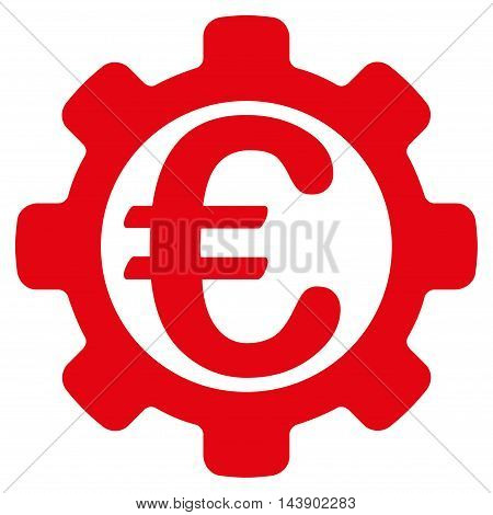 Euro Options icon. Vector style is flat iconic symbol with rounded angles, red color, white background.