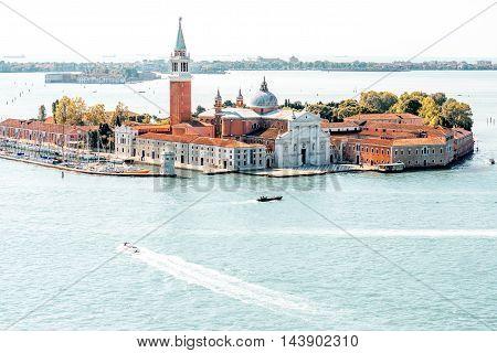 Close-up aerial view on San Giorgio Maggiore island from San Mark's Campanille in Venice