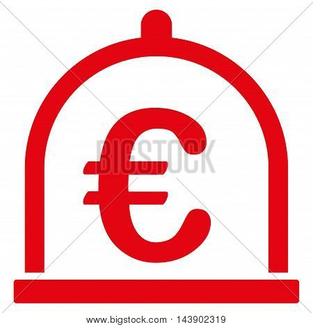 Euro Storage icon. Vector style is flat iconic symbol with rounded angles, red color, white background.