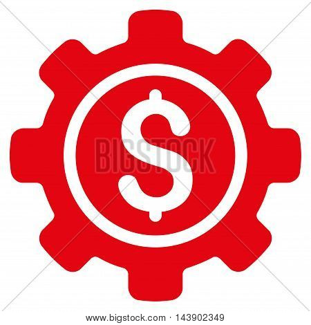 Financial Tools icon. Vector style is flat iconic symbol with rounded angles, red color, white background.