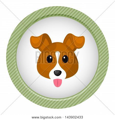 Cute dog colorful icon. Vector illustration in cartoon style