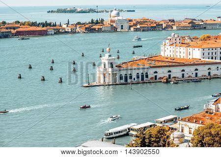Aerial view on punta della Dogana and La Giudecca island in Venice