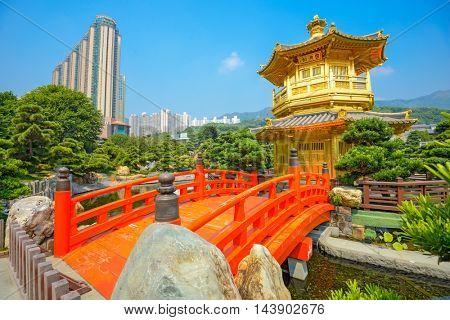 HONG KONG, CHINA - OCTOBER 11, 2012: The Golden Pavilion of Perfection in Nan Lian Garden.