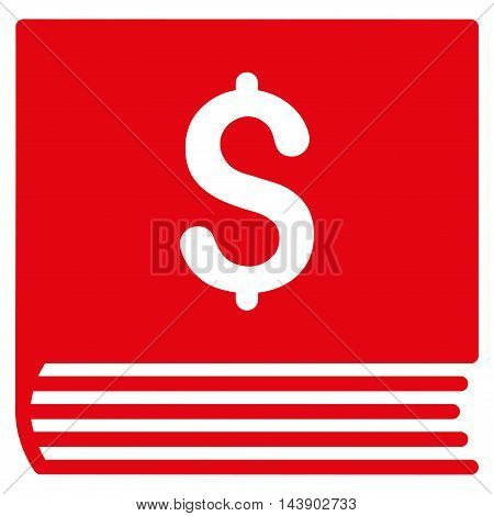 Sales Book icon. Vector style is flat iconic symbol with rounded angles, red color, white background.