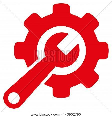 Tools icon. Vector style is flat iconic symbol with rounded angles, red color, white background.
