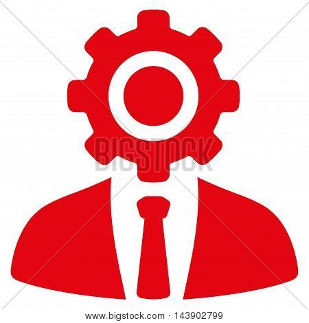 Worker icon. Vector style is flat iconic symbol with rounded angles, red color, white background.