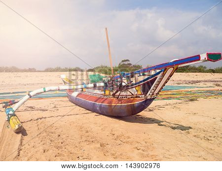 Fishing Boat Net On The Ocean Coast Of Sri Lanka