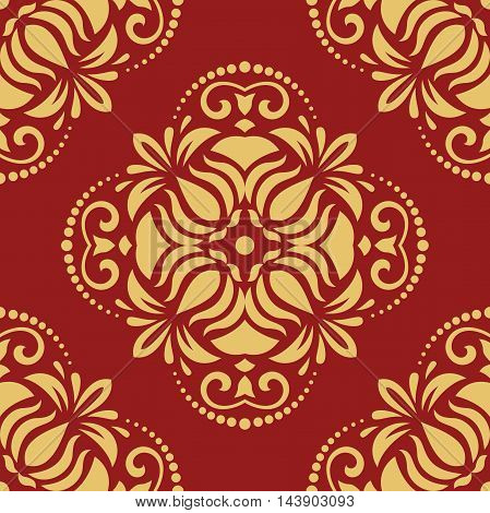 Oriental classic red and golden pattern. Seamless abstract background with repeating elements