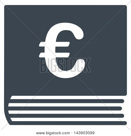 Euro Sales Book icon. Vector style is flat iconic symbol with rounded angles, smooth blue color, white background.