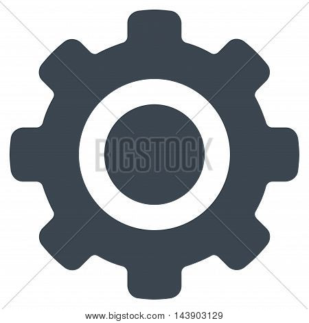 Gear icon. Vector style is flat iconic symbol with rounded angles, smooth blue color, white background.
