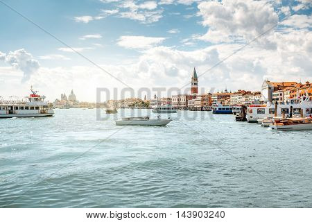 Venice cityscape view on San Marco region with water transport