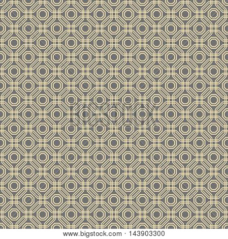 Geometric abstract background. Seamless modern pattern with golden octagons