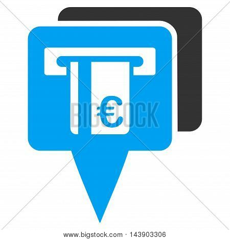 Euro Atm Pointers icon. Vector style is bicolor flat iconic symbol with rounded angles, blue and gray colors, white background.
