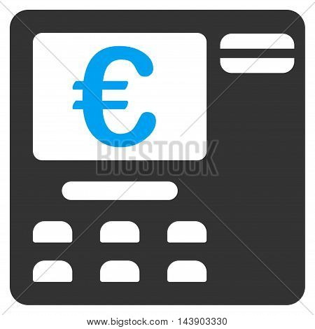 Euro Atm icon. Vector style is bicolor flat iconic symbol with rounded angles, blue and gray colors, white background.