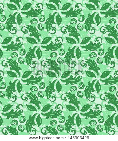Floral green ornament. Seamless abstract classic pattern with flowers