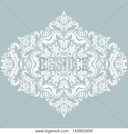 Elegant blue and white ornament in the style of barogue. Abstract traditional pattern with oriental elements