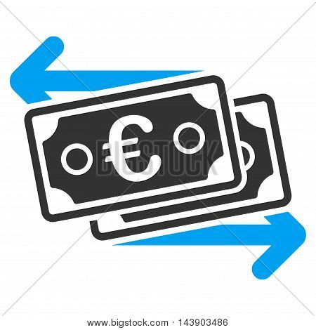 Euro Banknotes Change icon. Vector style is bicolor flat iconic symbol with rounded angles, blue and gray colors, white background.