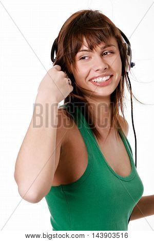 Beauty Woman Listening Music