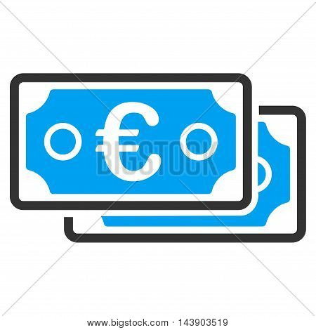 Euro Banknotes icon. Vector style is bicolor flat iconic symbol with rounded angles, blue and gray colors, white background.