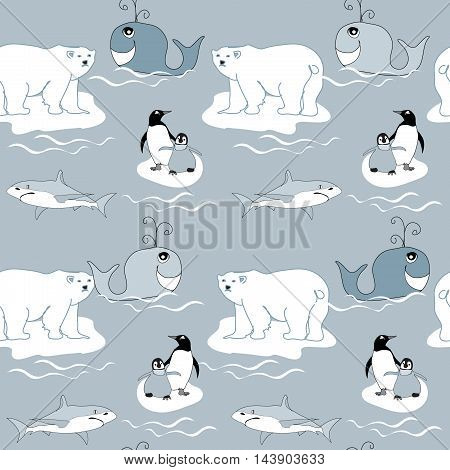 Polar Animals seamless pattern with bears and penguins