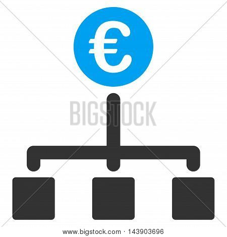 Euro Cash Flow icon. Vector style is bicolor flat iconic symbol with rounded angles, blue and gray colors, white background.