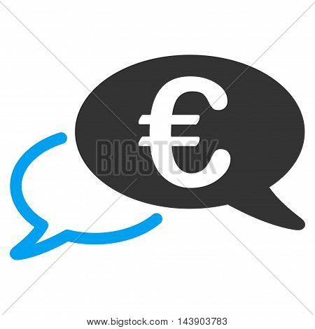 Euro Chat icon. Vector style is bicolor flat iconic symbol with rounded angles, blue and gray colors, white background.