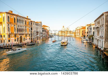 View on Grand canal with Santa Maria basilica from Accademic bridge in Venice