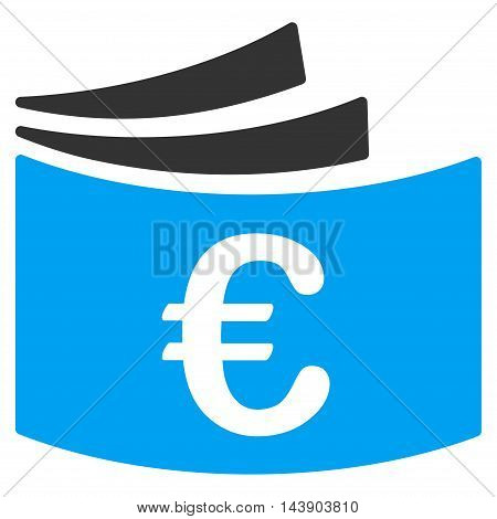 Euro Checkbook icon. Vector style is bicolor flat iconic symbol with rounded angles, blue and gray colors, white background.