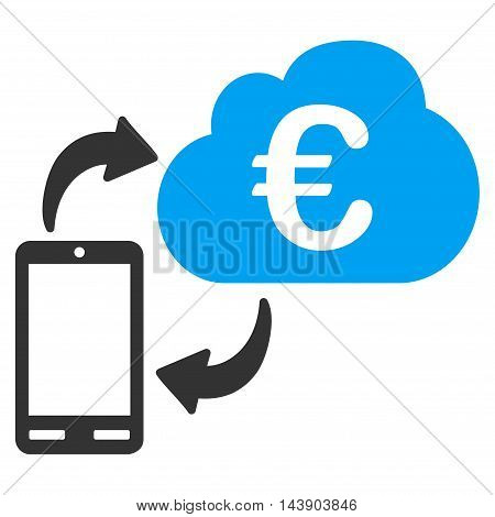 Euro Cloud Banking icon. Vector style is bicolor flat iconic symbol with rounded angles, blue and gray colors, white background.