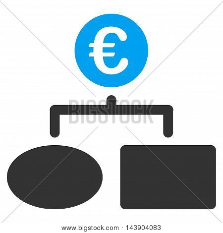 Euro Flow Chart icon. Vector style is bicolor flat iconic symbol with rounded angles, blue and gray colors, white background.