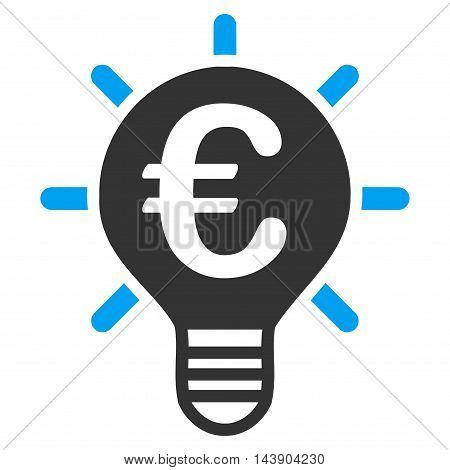 Euro Innovation icon. Vector style is bicolor flat iconic symbol with rounded angles, blue and gray colors, white background.