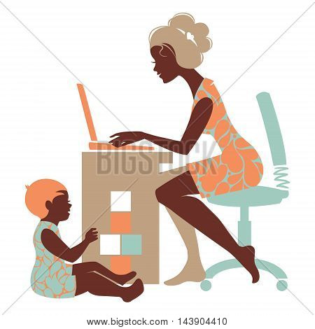 Beautiful silhouette of mother freelancer with notebook and baby playing with toys