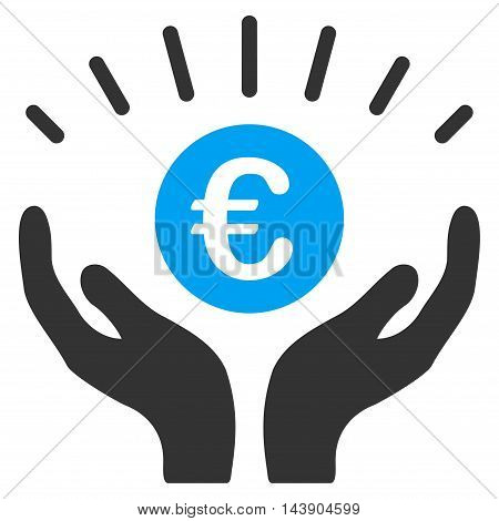 Euro Prosperity icon. Vector style is bicolor flat iconic symbol with rounded angles, blue and gray colors, white background.
