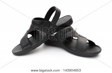 pair of black leisure sandal on white background